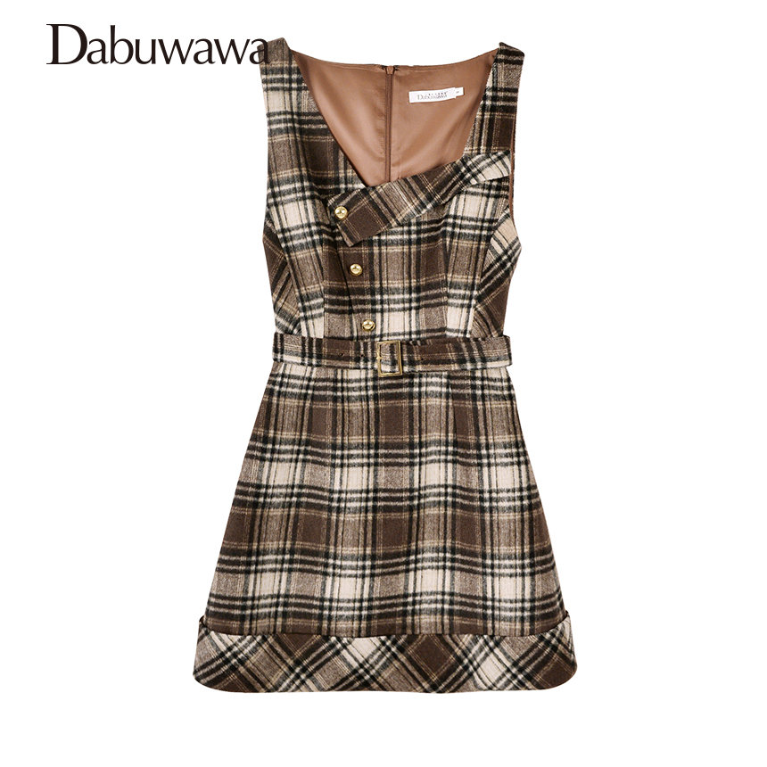 Dabuwawa 2017 Vintage Plaid Vest Skirt Natural Waisted Elegant Pencil Button Skirt Autumn Winter Jumper Skirt #D17DDX018 dabuwawa autumn women fashion sexy plaid skirt elegant mini pleated skirt short streetwear asymmetrical skirt d17csk031 page 2