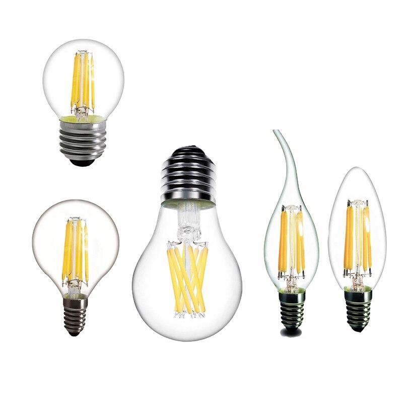 Led Candle Light E14 Led Bulb E27 Led Filament Bulb E14 Bulb Chandelier 220v 230v Vintage Filament Lamp Replace Incandescent Clear-Cut Texture
