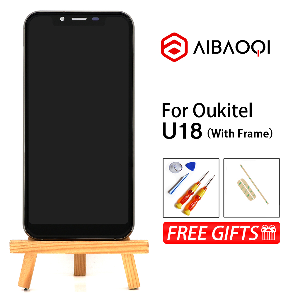 AiBaoQi New Original 5 85 inch Touch Screen 1512x720 LCD Display Frame Assembly Replacement For Oukitel