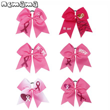 Breast Cancer Pink Cheer Bow Grosgrain Ribbon Printed Hair Handmade Elastic Ropes For Girls Accessories