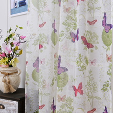 soft fabric sheer tulle curtains for bedroom colorful butterfly children Curtains Living Room kitchen tulles 1pc