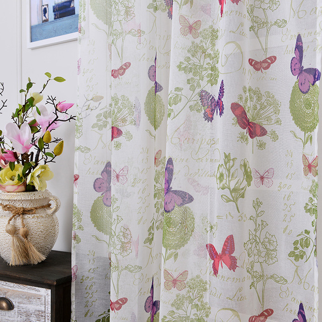 Soft Fabric Sheer Tulle Curtains For Bedroom Colorful Butterfly Children  Curtains For Living Room Kitchen Curtains