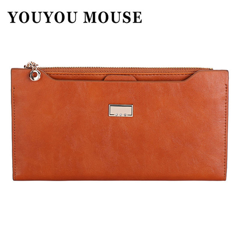 YOUYOU MOUSE Leather Women Wallet 5 Colors Zipper Multifunction Long Wallets Ladies Clutch Handbag Cheap Coin Purse Card Holder matte leather 5 colors clutch wallets 2015 new fashion women wallet ladies long clutches two fold coin purse card