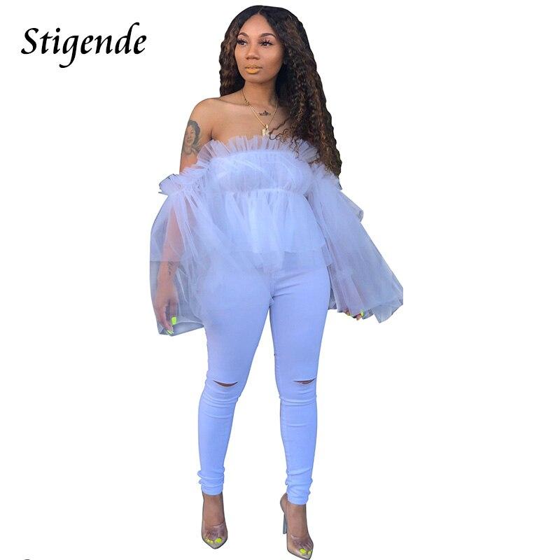 Stigende Summer Long Sleeve Ruffle Mesh   Blouse   Women See Through Chiffon Off Shoulder   Blouse     Shirt   Sexy Transparent   Blouse   Top