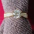 AU750 Promessa Jóias de Ouro G18K Anel em Ouro Amarelo 3 Quilates Moissanite Teste Positivo Solitaire Anel Genuine 18 K Ouro Amarelo jóias
