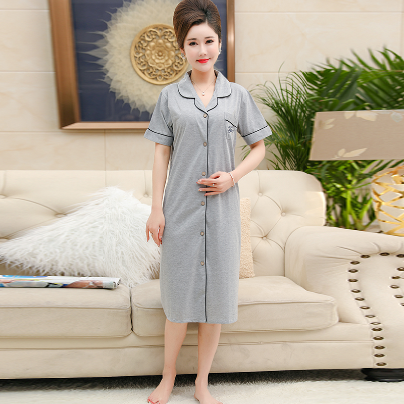 Women   Nightgowns   Female   Sleepshirt   Spring 2019 New Summer 100% Cotton Lady Nightdress Mum Lounge M-XXXL Pink and Grey Colour