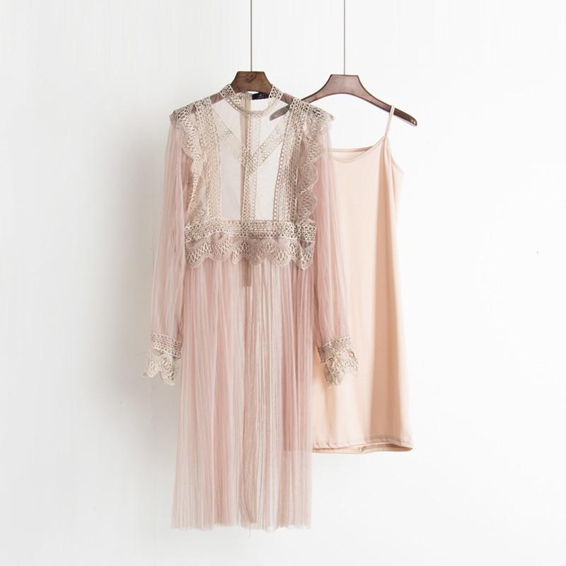 2017 Autumn new female ruffles sweet gauze lace pressure pleated one-piece dress women's waist slim full dress twinset 5