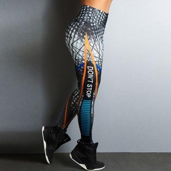 2019 New Sports Printing Style Leggings Put Hip Fold Elastic High Waist Legging Breathable Slim Pants