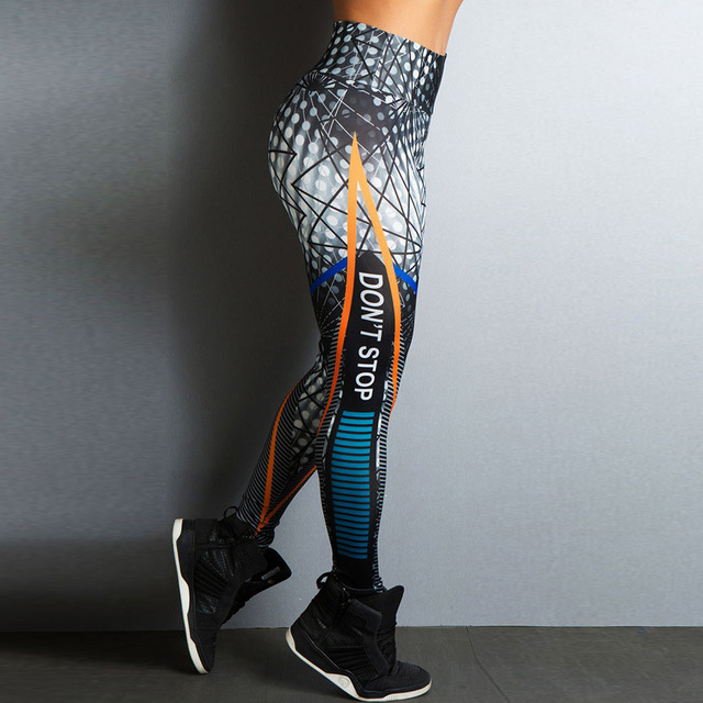 New Sports Printing Style Leggings Put Hip Fold Elastic High Waist Legging Breathable Slim Pants