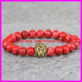 1PCS Hot Red Emperor Jade Agate stone Charm Bracelet Rope Chain Double Gold plated lion heads men/women bracelet bangle jewelry