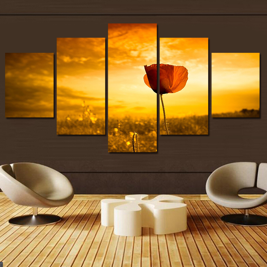 2017 5 Pcs Wall Painting Rose Flower Golden Sunset Scenery Home ...