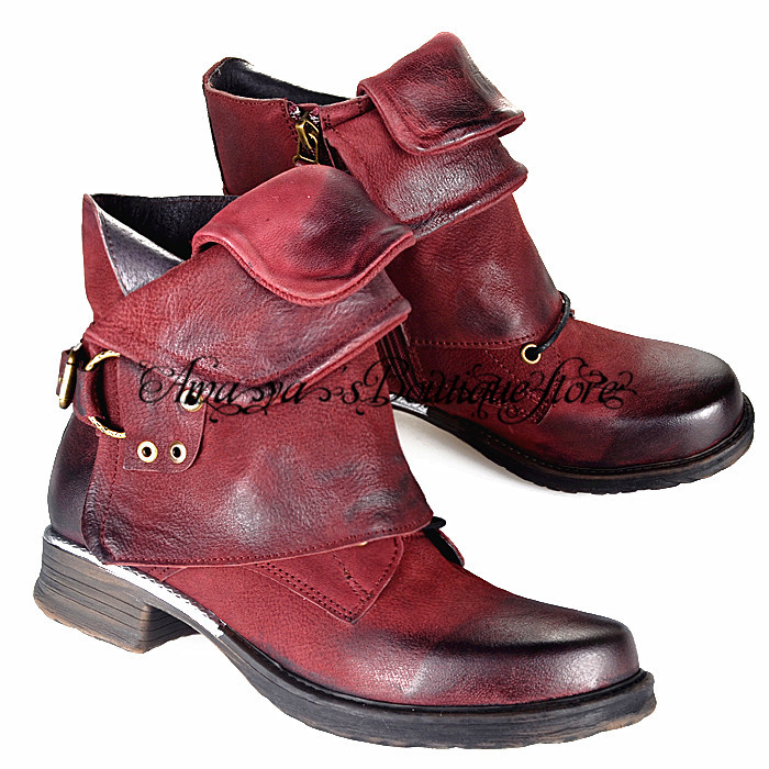 Wine Red Genuine Leather Women Ankle Boots Punk Style Motorcycle Bottes Buckle Decor Short Botas Military Knight Booties new fashion black purple women genuine leather ankle boots chain decor punk style motorcycle booties flat botas militares