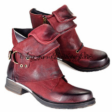 Wine Red Genuine Leather Women Ankle Boots Punk Style Motorcycle Bottes Buckle Decor Short Botas Military Knight Booties