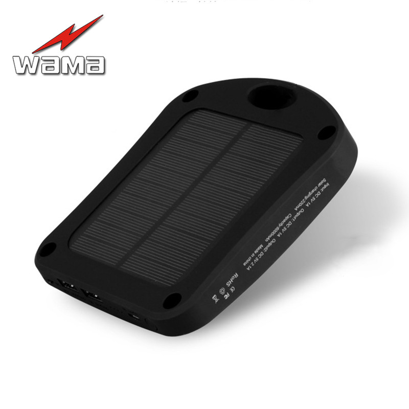 1x Wama Solar Panel Power Bank dual-USB Backup Battery of Real 6000mAh Waterproof Outdoors External Portable LED Light