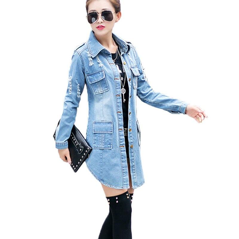 bomber Basic Women Denim Jacket 2019 spring autumn new Long Section lapel Hole Retro wear Jeans Jacket Female coat Mujer LJ243 denim