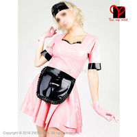 Sexy Swing apron Waitress set Gummi Skater baby doll flares suit Latex Maid uniform Rubber dress gloves playsuit plus QZ 037