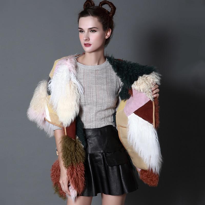 Automne Laine Manteaux Réel Sans Moutons Multi De 2019 cou Hiver Fourrure Mongolie Femmes Contraste MYFansty O Couleur Agneau Manches Manteau 534LRjA