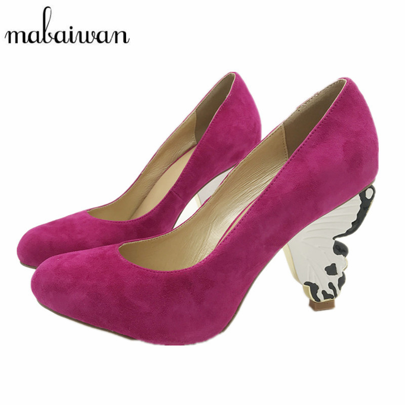 Mabaiwan Cute Unique Style Butterfly Heel Women Pumps