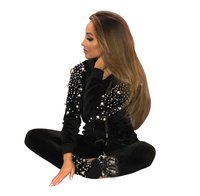 MVGIRLRU жемчуг бисер женские спортивные костюмы с длинным рукавом большой карман толстовка капюшоном + длинные штаны комплект из двух предмет...