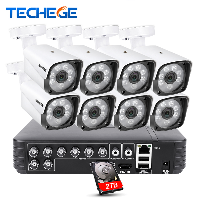 Techege 8 Channel 720P Video Security System DVR recorder 8pcs HD 1200TVL Indoor Outdoor Metal Weatherproof CCTV Camera System zosi 8 channel hd tvi 1080p lite video security system dvr recorder with 4x hd 1280tvl indoor outdoor weatherproof cctv camera