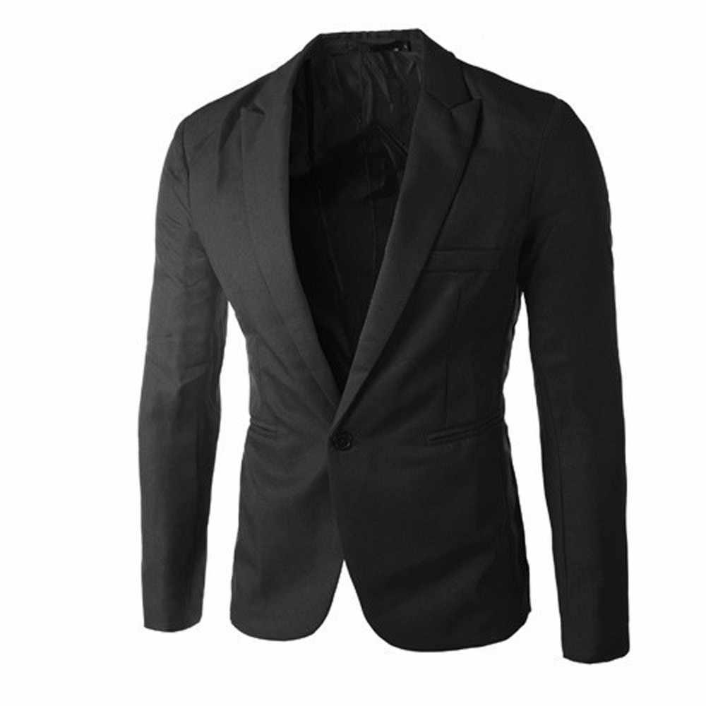MUQGEW チャーム男性のホワイトブラックピンクブルーカジュアルスリムフィットワンボタン春秋スーツブレザーコートジャケットトップス男性ファッション