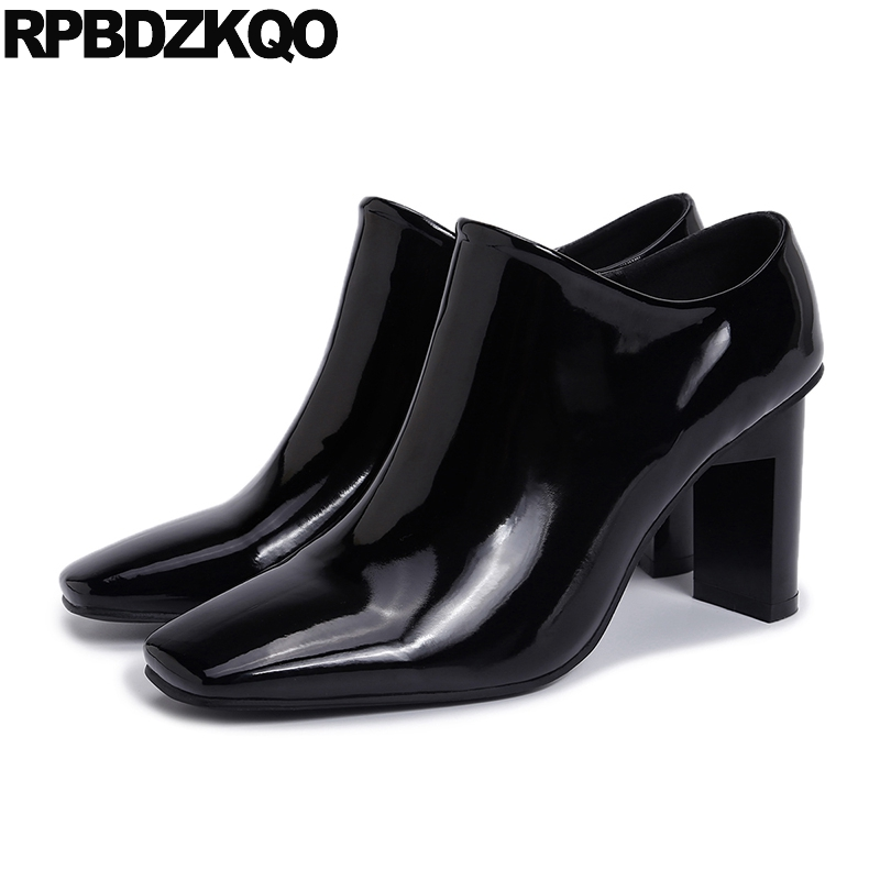 где купить Ladies 2017 Patent Leather Sexy Square Toe Booties Black Shoes Short Side Zip Boots Ankle Autumn High Heel Chinese Fashion по лучшей цене
