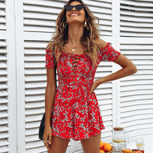 Summer Rompers Womens Jumpsuit 2018 Boho Beach Red Floral Playsuit Shorts Lace Up Short Sleeve Off