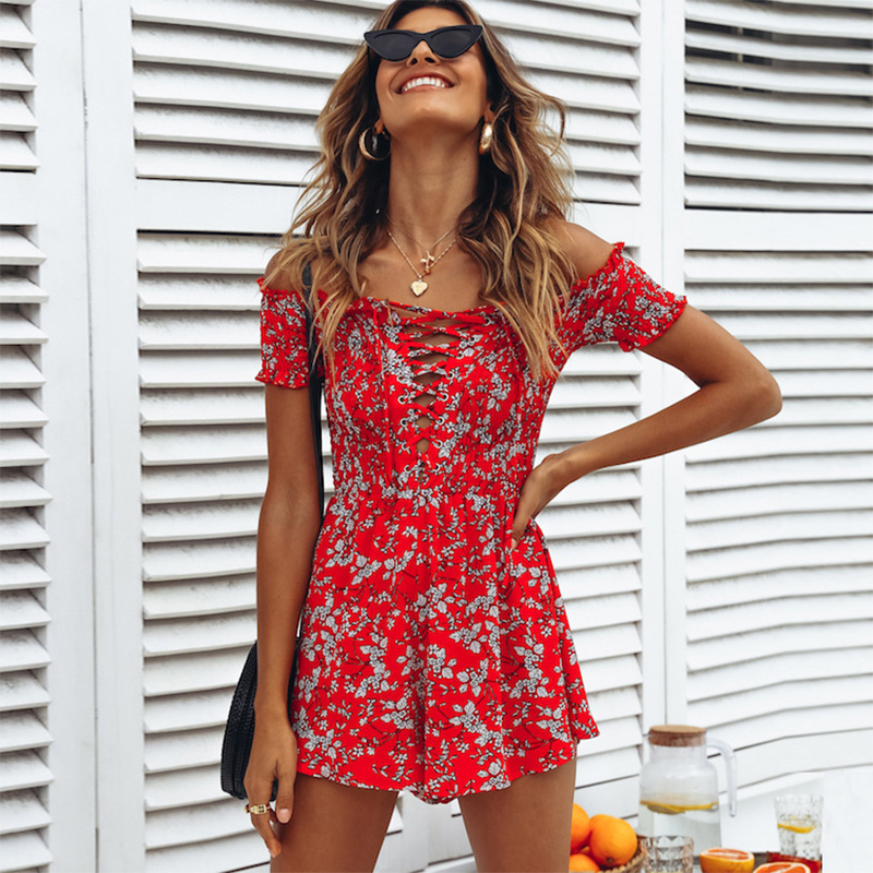 Summer Rompers Womens   Jumpsuit   2018 Boho Beach Red Floral Playsuit Shorts Lace Up Short Sleeve Off Shoulder Chiffon Romper Women