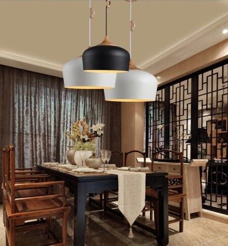 € 74.99 30% de réduction|Moderne noir blanc pendentif lumière cuisine  lampes salle à manger Bar luminaire lampe en bois dans Lampes Suspendues de  ...