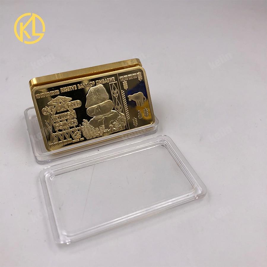 1 adet altın banknotlar 100 trilyon dolar zimbabve altın Bar çoğaltma paraları sahte para dolar altın kopya paraları koleksiyon
