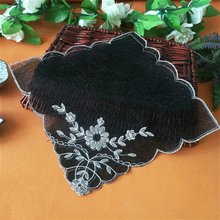 Square 27cm Black Double Mesh Embroidery Lace Placemat Coffee Cup Table Mat Multi-purpose Dust Cover Cloth Pad Weding Decoration ofm kmt42sq chy square multi purpose table metal mesh base 42 cherry