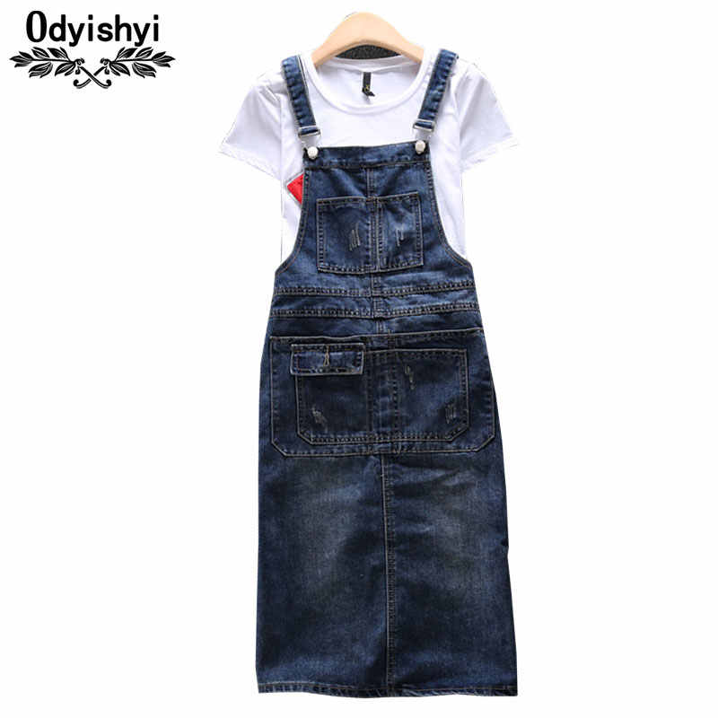Strap Denim Dress Plus size Loose Women Summer Vestidos Sleeveless Overall  Dresses+T-shirt 5ae263932a20
