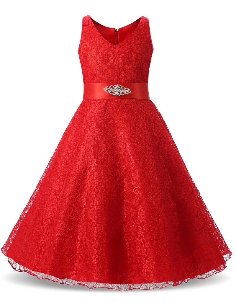 Red Lace Flower Dress For Girl Wedding Party Teenagers Girl Dress Long Kids Prom Gown Costume Girl Clothes Children Clothing bosch v line 68 2607017191