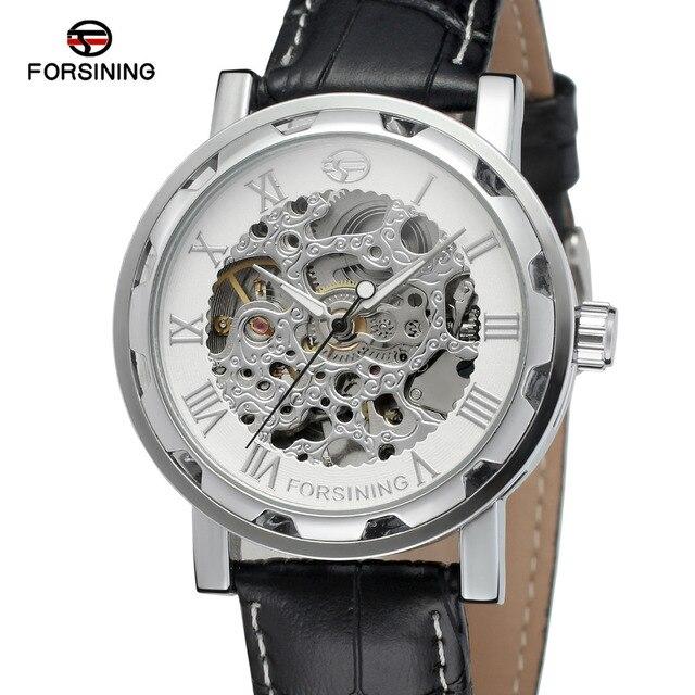 e05804781459 Forsining hombres reloj esqueleto automático uno mismo-viento correa de cuero  pulsera de moda color