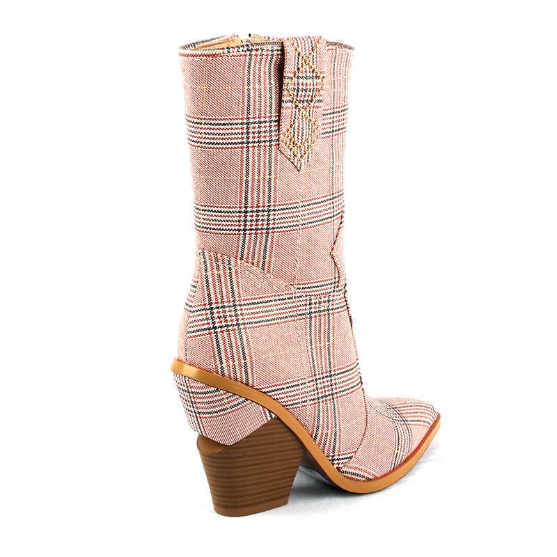 2019 Mode Cowboy Mid-kalf Laarzen Vrouwen Schoenen Pu Leer Wig Hoge Hak Laarzen Roze Plaid Stof Western Cowgirl laarzen Herfst