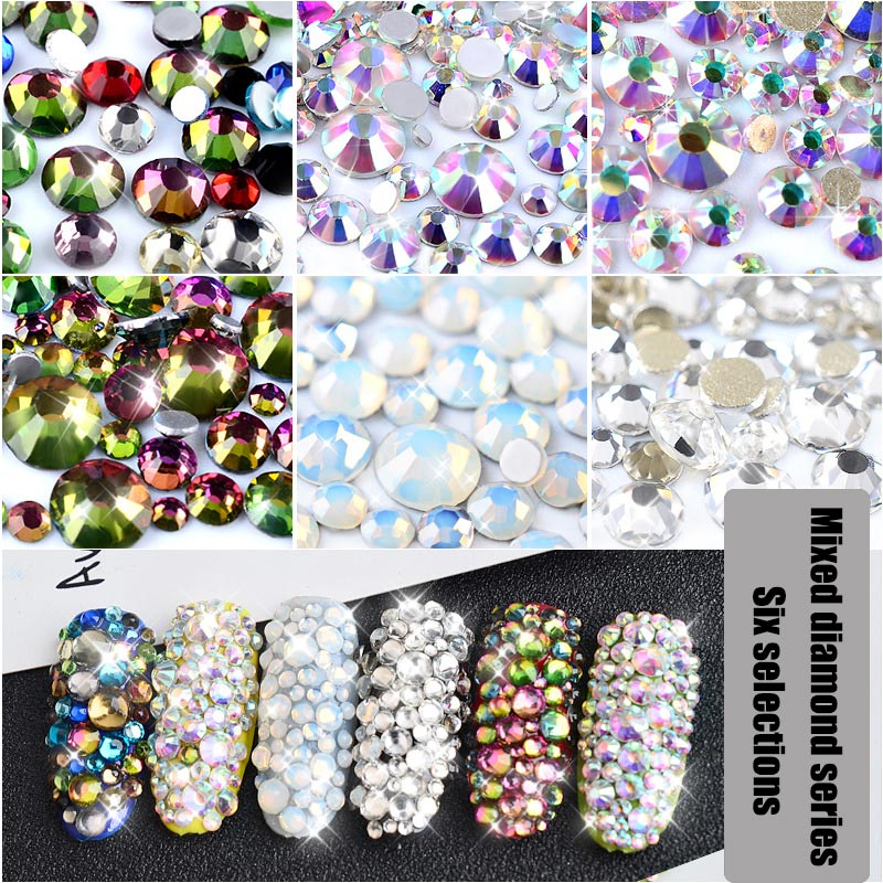 800 Pcs Mix Sizes Nails Crystal Clear AB Non Hotfix Flatback Rhinestones For 3D Nail Art Decor For Women Gift FM88 mix ss3 ss30 crystal ab and clear shinning designs non hotfix flatback nail rhinestones 3d nail art decorations glitter gems