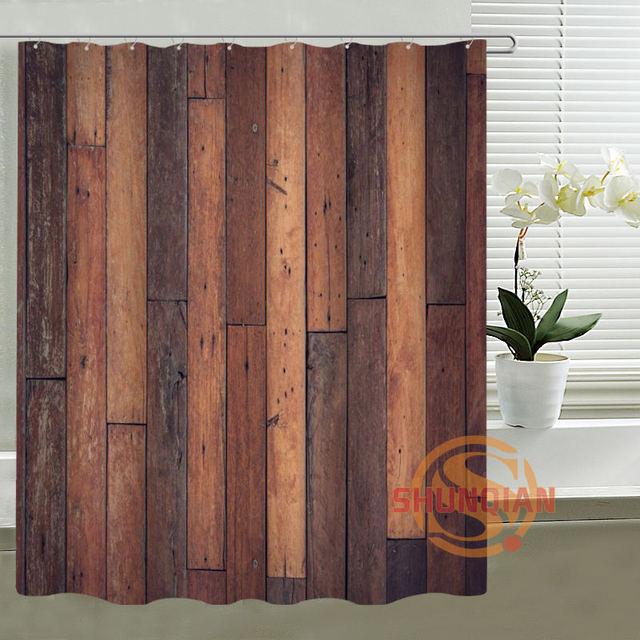 Rustic Old Barn Wood Custom Shower Curtain Waterproof Fabric Bath Curtain  For Bathroom