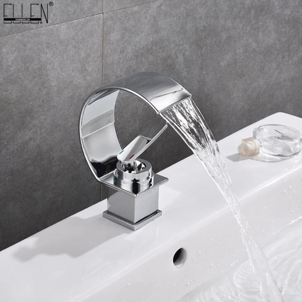 Deck Mounted Waterfall Bathroom Faucet Hot and Cold Water Mixer Tap Chrome Copper Crane Single Hole