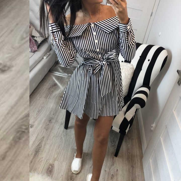 9622e9877aa AVODOVAMA M Summer Sexy Off Shoulder Long Sleeve Striped Dress Women  Elegant Casual Slim Mini Slash