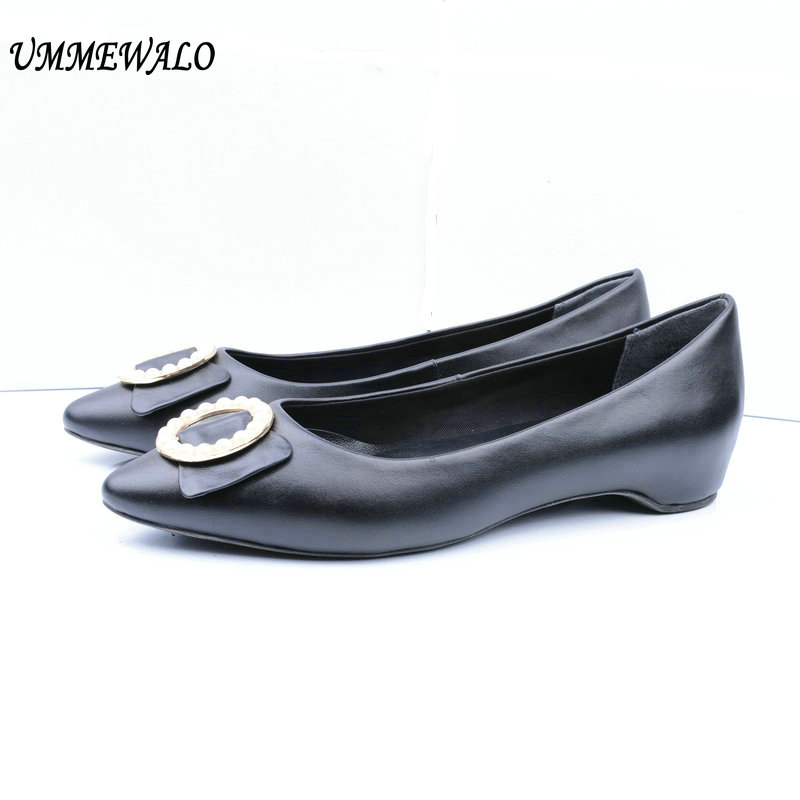 UMMEWALO Flat Shoes Women Genuine Leather Flats Fashion Qualiy Pointed Toe Ballerina Ballet Shoes Ladies Casual Beaded Shoes daitifen rome genuine leather women flat platform shoes soft outdoor activities fashion pointed toe elastic band ladies flats