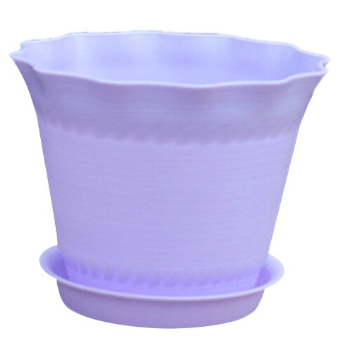 Wavy Flower Plant Nursery Pots holder with Tray Home Party Decor Resin resin New,white