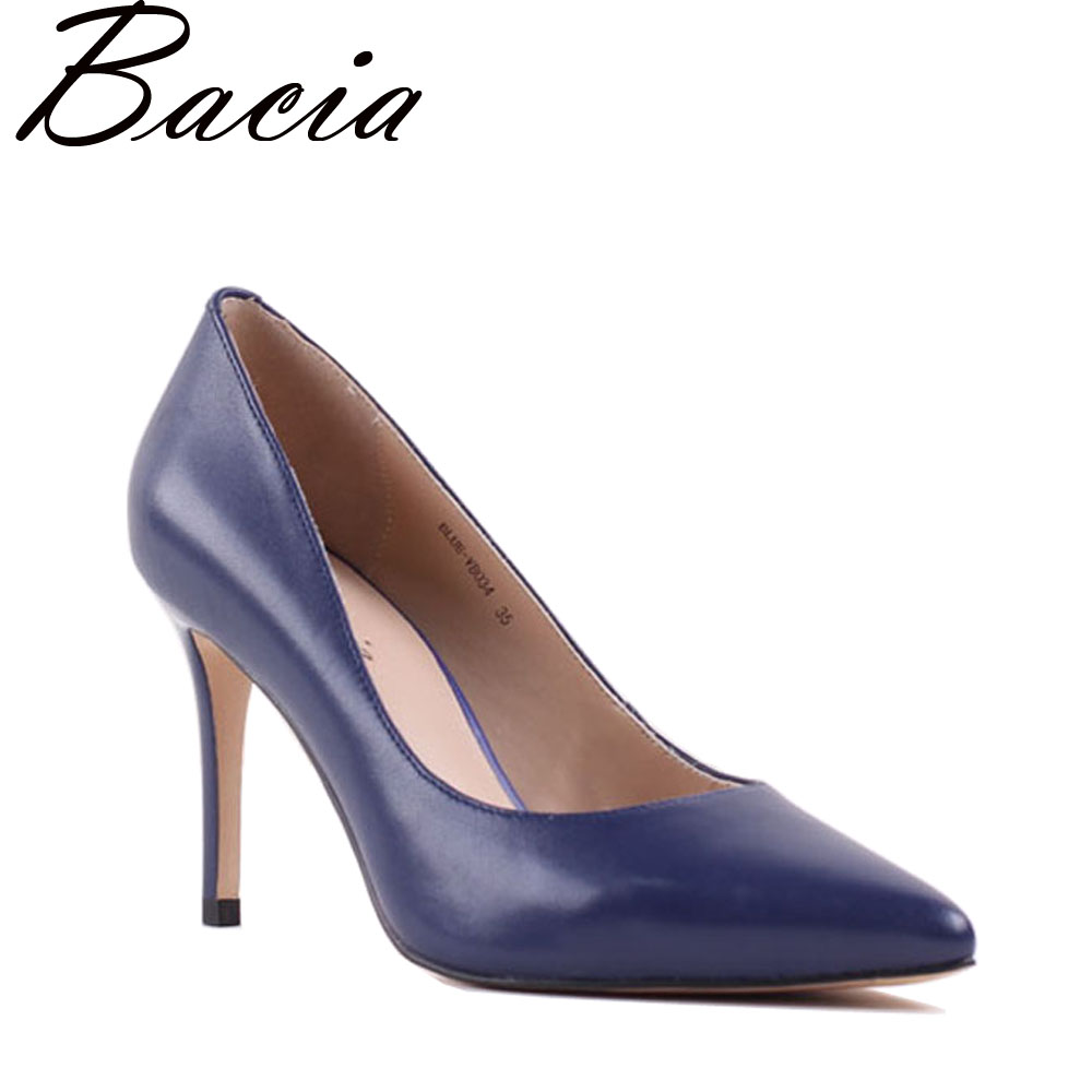 Bacia Sheep Skin High Heels Genuine Leather Elegant Pumps Women Royal Blue Shoe 8.3cm Thin Heel Pointed Toe Size 33-41 NEW SA021 autoprofi авточехлы sheep skin имитац дубл овчины 9 предм 3 молнии т сер св серый разм м 1 5
