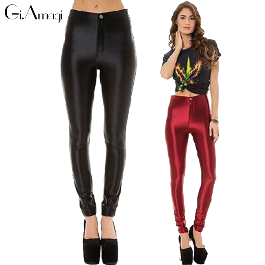 2016 Hot Sale Satin Disco Pants With Pockets Silm High Waist Slim Women's Pants Skinny Womens Trousers Plus Size 12 Colors