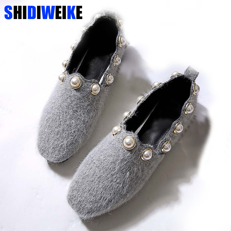 2018 Woman flat shoes Bead with Mink velvet shallow low heel Square Toe spring fashion sexy shoes M311 цены