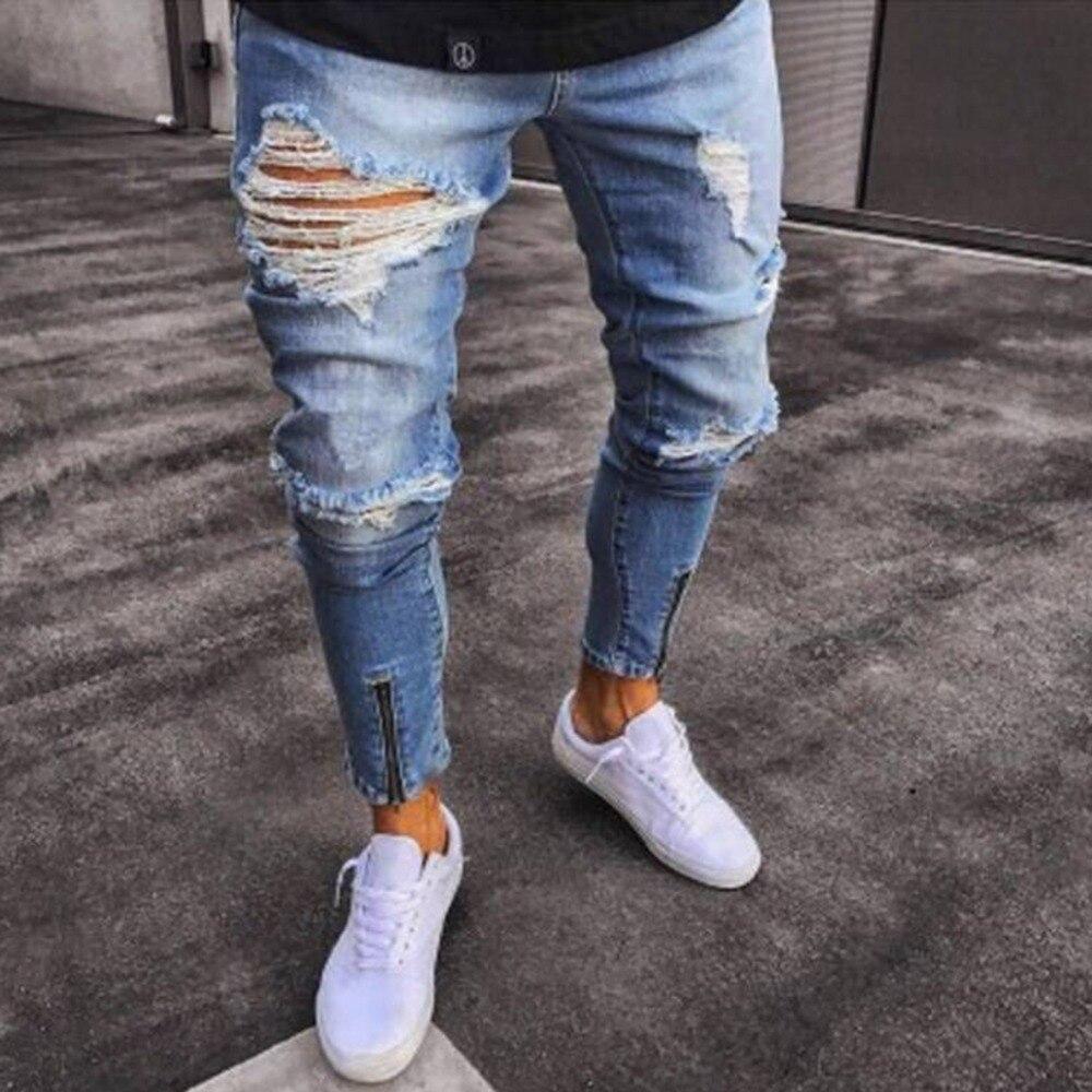 Buylivescribe Comprar Casual Jeans Hombres Ropa Agujero Rasgado Apenado Hip Hop De Moda Masculina Cremallera Denim Pantalones Flacos Para Lapiz Online Baratos