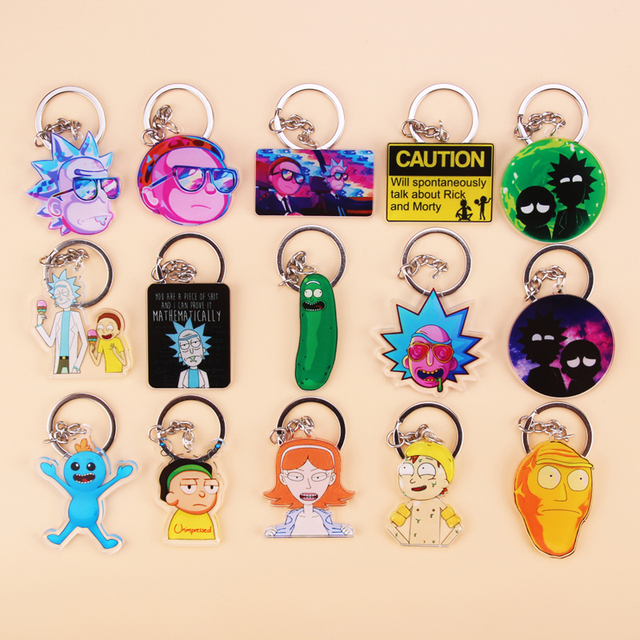Cute Anime Cartoon Rick And Morty Keychain Acrylic Key Chain Women and Men Kids Key Ring Gift Porte Clef 2