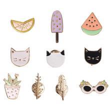 Hot Women Girls Lovely Harajuku Style Fruit Cat Sunglass Leaf Pot Ice cream Watermelon Orange Brooch Pin