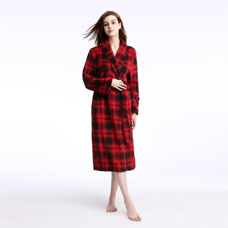 69e082b407a8 Plus size Women Men Winter Flannel Robes femme homme bathrobe oversize warm  Coral Fleece dressing gown plaid robe autumn