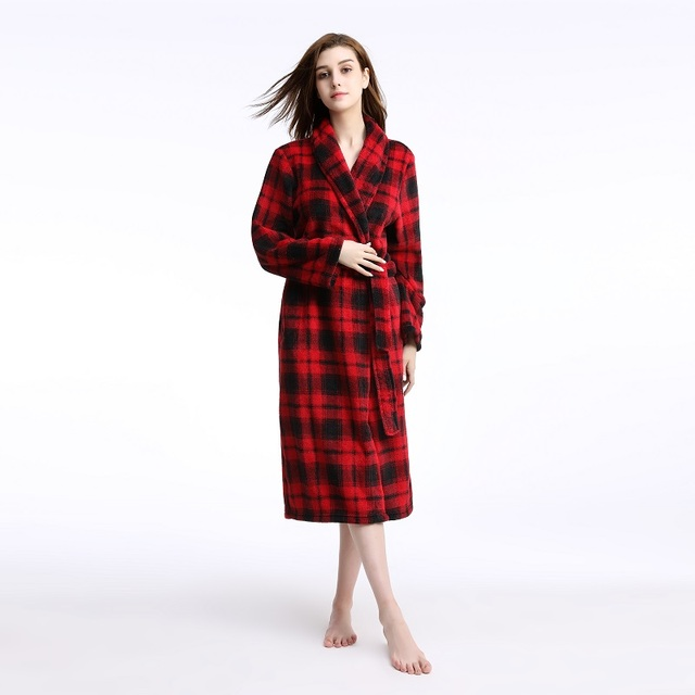 Plus Size Women Men Winter Flannel Robes Femme Homme Bathrobe