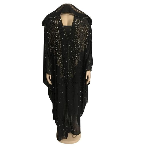 African Dresses For Women Beading Robes Long Maxi Dresses Fashion Plus Size Chiffon Dress Hooded Black Abaya Batwing Vestidos 2